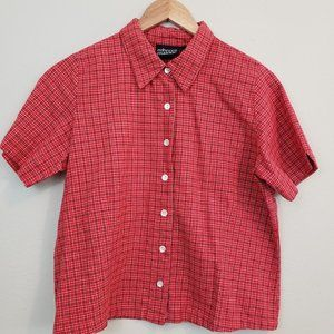 Rebecca Malone Red Short Sleeve Shirt Size Small